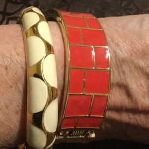 2 Bracelets- off white and gold - red and gold